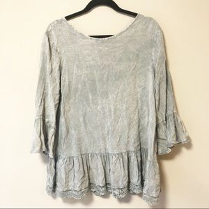 Altar'd State Quincy Cloud Gray Peplum Top